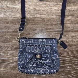 Blue and Silver Coach Crossbody Bag